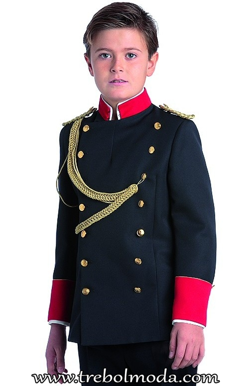 puños Botones cerrar dorados cruce en color Casaca cuello rojo mao con marino en el para y wngAIqv