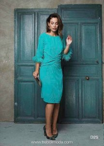 Vestido verde manga francesa