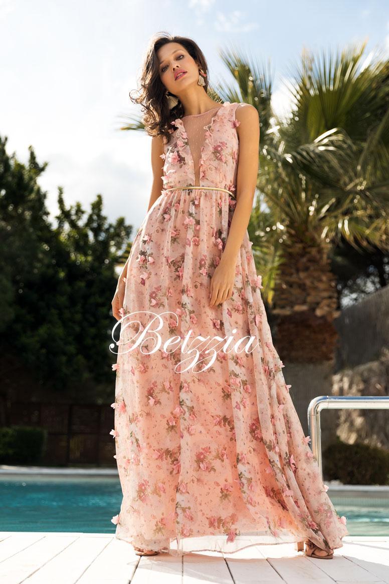 Vestido Gasa Flores Bordadas 3d